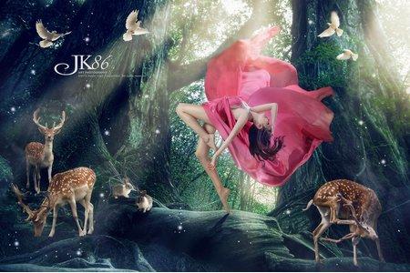飄浮,水底,精靈風,童話風,雪景