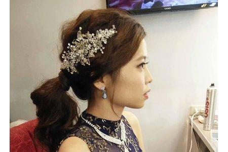 叮噹新娘韓風低馬尾