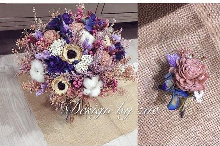 手作乾燥花飾-花圈、捧花、手腕花、新郎胸花皆可訂製