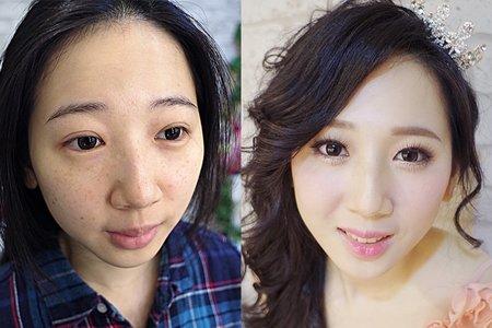 妝前妝後對比照(翁詩涵造型彩妝工作室)