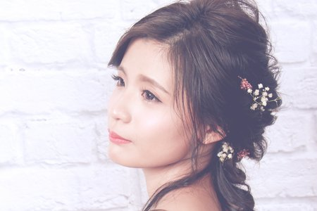 韓式清透裸妝加編髮造型