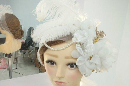 手工蕾絲羽毛珍珠頭飾/桃園中壢新秘子歡