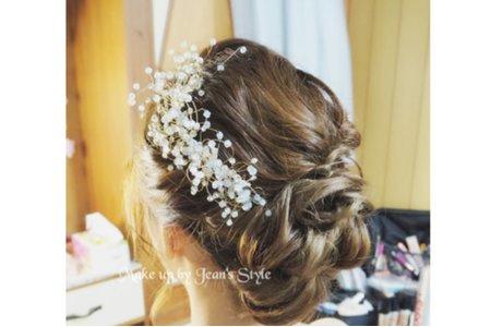 盤髮 白紗 編髮 韓風 造型