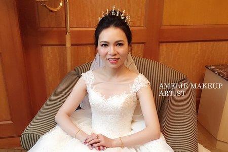 |婚禮造型|氣勢皇冠高盤髮+女神送客造型