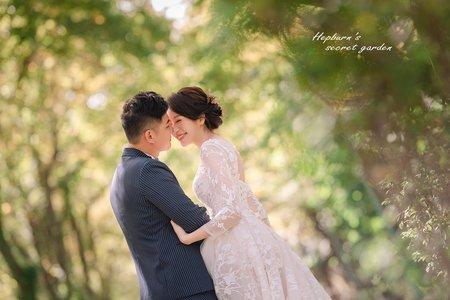 逆光夕陽|簡約韓風|復古優雅,赫本的祕密花園,婚紗攝影