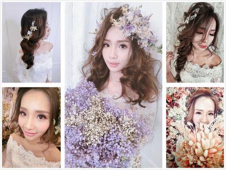 新娘造型 精選造型 波浪捲髮 髮絲感 盤髮 側邊捲髮 低馬尾 婚宴造型 自然眼妝