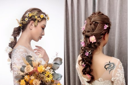 黎兒新娘秘書 噴槍底妝-浪漫乾燥花造型