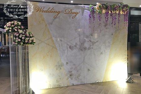 公版背版婚禮佈置~升級為鮮花版客製新人名