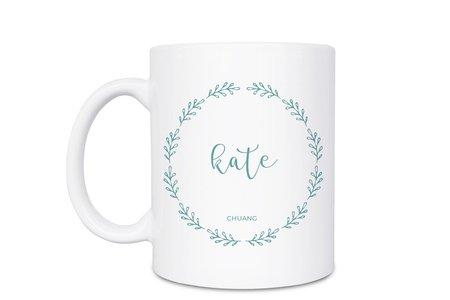 白瓷馬克杯-浪漫葉語