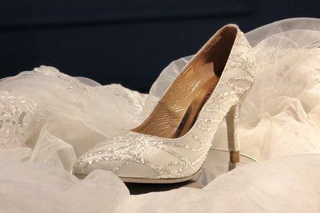 限量10雙 流星蕾絲手工婚鞋